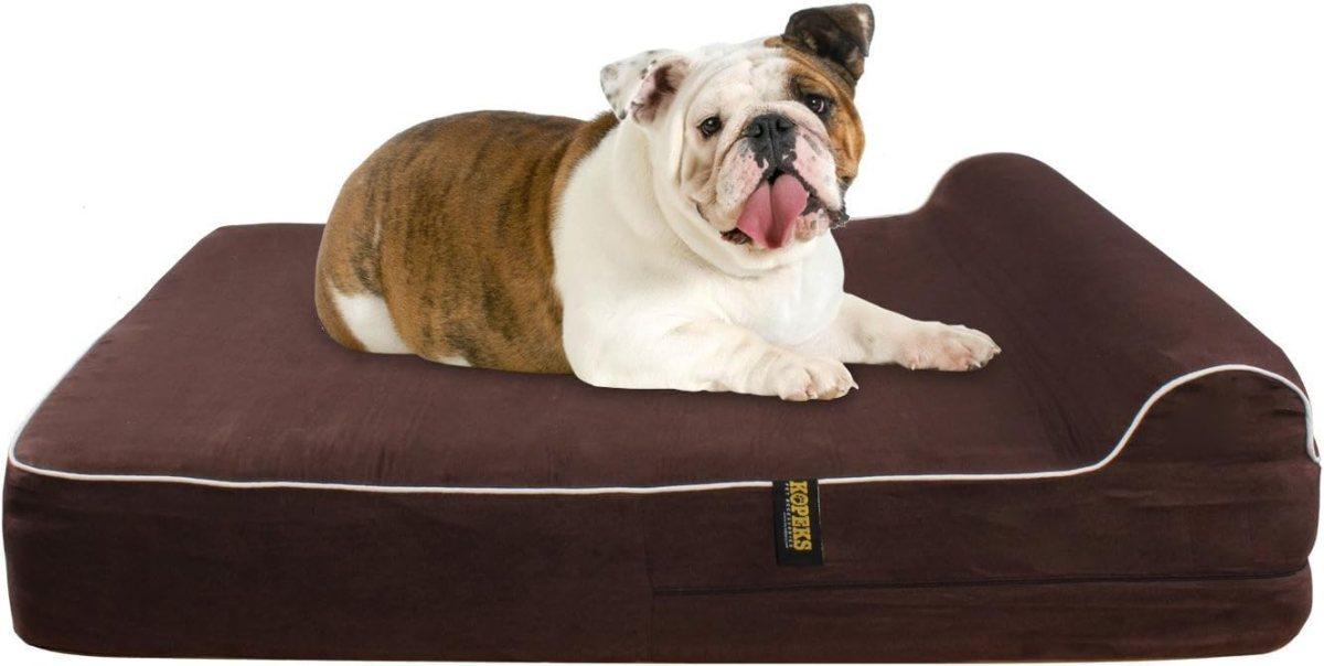KOPEKS Cama Grande para Perros Mascotas Grandes con Memoria Viscoelástica Ortopédico 91 x 71 x 15 cm más la Almohada - L - Marrón