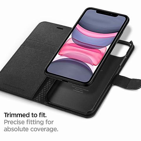 【Spigen】スマホケース iPhone 11 ケース 手帳型 6.1インチ 対応 カード収納付き スタンド機能 ワイヤレス充電対応 ウォレットS サフィアーノ 076CS27197 (ブラック)