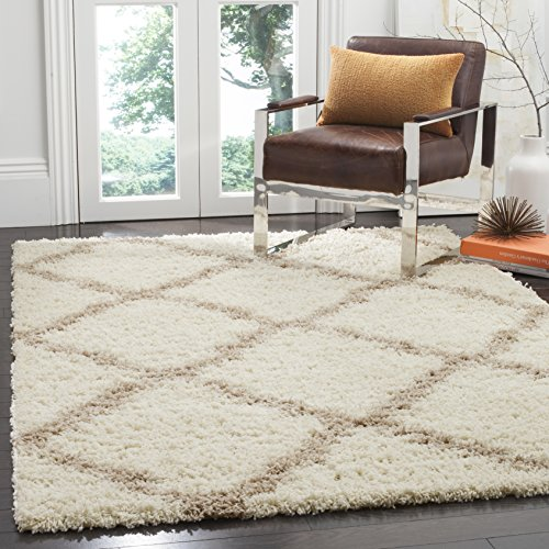 Safavieh Dallas Shag Collection SGD257B Ivory and Beige Area Rug (5'1' x 7'6')