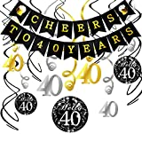 40th Birthday Decorations Kit- Konsait Cheers to 40 Years Banner Swallowtail Bunting Garland Sparkling Celebration 40 Hanging Swirls,Perfect 40 Years Old Party Supplies 40th Anniversary Decorations