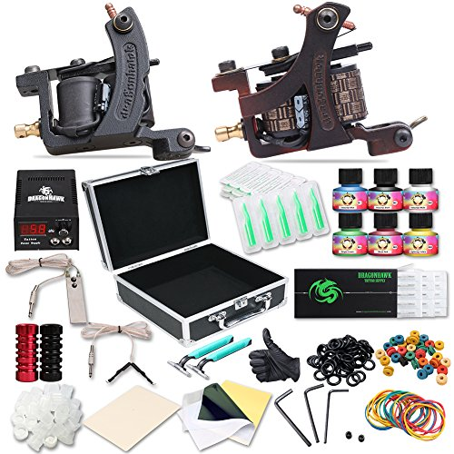 Dragonhawk Complete Tattoo Kit 2pcs Coil Tattoo Machine Tattoo Guns Color...