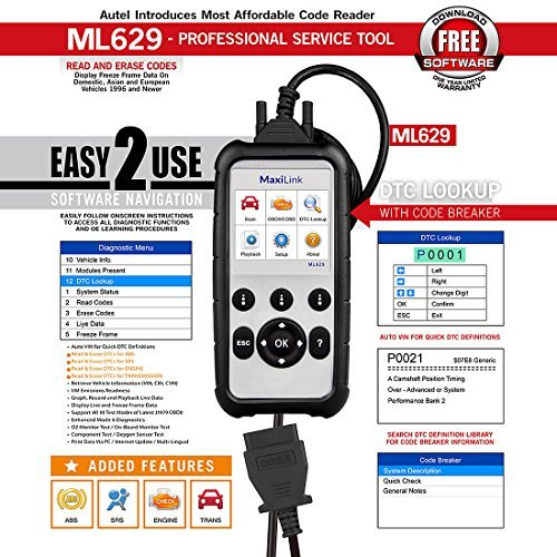 Autel ML629 Maxi Link Code Reader Auto OBD2 Scanner Automotive Scan Tool Can ABS SRS Engine Transmission
