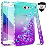 Galaxy J7 2017/ J7 V/ J7 Prime/ J7 Perx/ J7 Sky Pro/Halo Glitter Case (Not fit J7 2018) with Tempered Glass Screen Protector [2 Pack] for Girls Women, LeYi Liquid Case for Samsung J7V ZX Teal/Purple