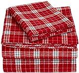AmazonBasics Yarn-Dyed Lightweight Flannel Sheet Set - Twin Extra-Long, Bordeaux Plaid
