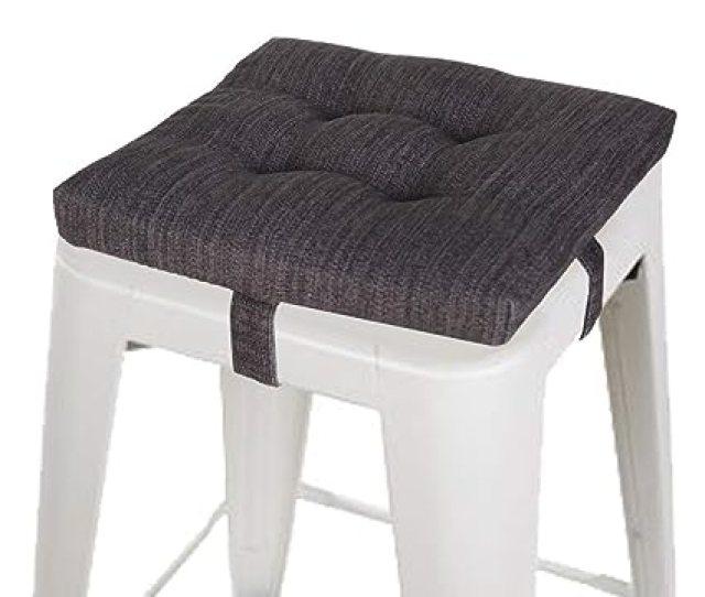 Amazon Com Baibu Square Seat Cushion Super Soft Bar Stool Square Seat Cushion With Ties Black 12 Home Kitchen