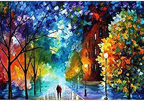 Amazon Com Easy Diy Paint By Number Sets With Brushes Paints On Canvas Nature Landscape Paintworks Unique Christmas Gifts For Adults Beginners Romantic Street Lovers Walks In The Street 16x20 Inch Frameless