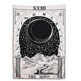 "BLEUM CADE Tarot Tapestry The Moon The Star The Sun Tapestry Medieval Europe Divination Tapestry Wall Hanging Tapestries Mysterious Wall Tapestry for Home Decor (The Moon, 59""×59"")"