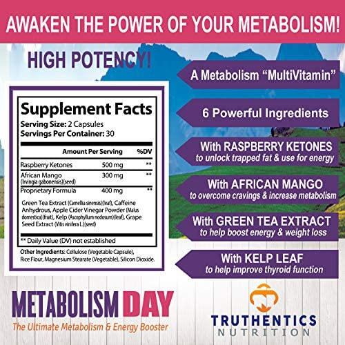 TRUTHENTICS Metabolism & Energy Boost - Natural Aid for Slow Metabolism - Supports Energy, Weight Loss, Blood Sugar Balance Supplement for Women & Men - Use Fat for Energy - Manage Cravings - 60 caps 2