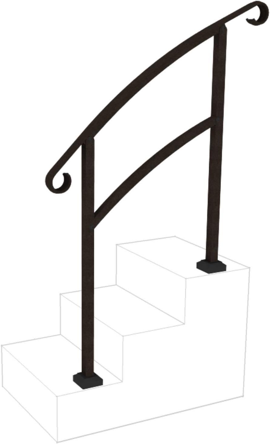 Instantrail 3 Step Adjustable Handrail Black Amazon Com   Exterior Handrails For Concrete Steps   Stair   Backyard   Cool   Side Entrance   Old House Porch