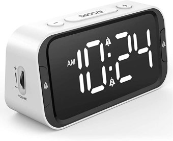 LIELONGREN Small Digital Alarm Clock for Heavy Sleepers with 100dB Extra Loud Alarm, USB Charger, Dual Alarm, LED Display, Battery Backup, Desk/Bedside Alarm Clock for Bedroom - White