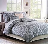 Tahari Home Maison Bedding Floral Damask Medallion Full / Queen Size 100% Cotton 3 Piece Luxury Duvet Comforter Cover Set Classical Antique Pattern Shades of Gray and White