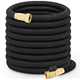 growfast Garden Hose, 100 Feet Expandable Lightweight and Durable Water Hose with 3/4 Nozzle Solid Brass Connector Flexible Stretch Hosepipe for Heavy Duty Commercial Use and Watering, Washing
