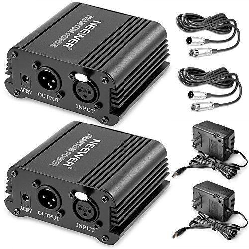 Neewer 2 Pack 1- Channel 48V Phantom Power Supply Black with Adapter and XLR Audio Cable for Any Condenser Microphone Music Recording Equipment