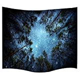 IMEI Universe Galaxy Star Wall Tapestry, Multi Purpose Outer Space Wall Hanging Mural Art Decoration Tapestry Sofa Cover Beach Blanket Dorm Decor (51X60 Inch, Forest Starry)
