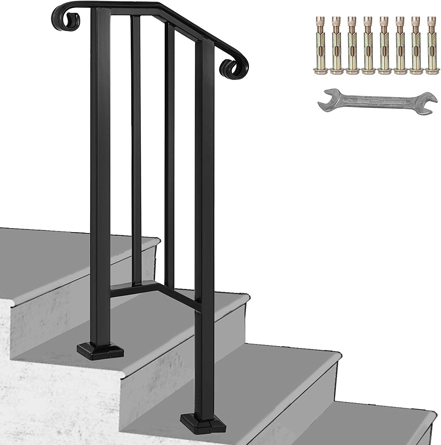 Happybuy Handrail Picket 1 Fits 1 Or 2 Steps Matte Black Stair | Outdoor Stair Railing Installation | Balcony | Steel | Metal | Patio | Residential