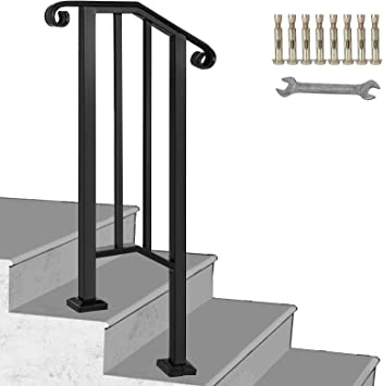 Happybuy Handrail Picket 1 Fits 1 Or 2 Steps Matte Black Stair | Steel Handrails For Outdoor Steps | Tubular Steel | Steel Handrail Style Kerala Staircase | Stainless | Commercial | Residential