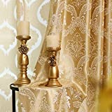 MYRU European Gloden Luxury Jacquard Curtains for Bedroom Living Room (54' W by 84' L X2)