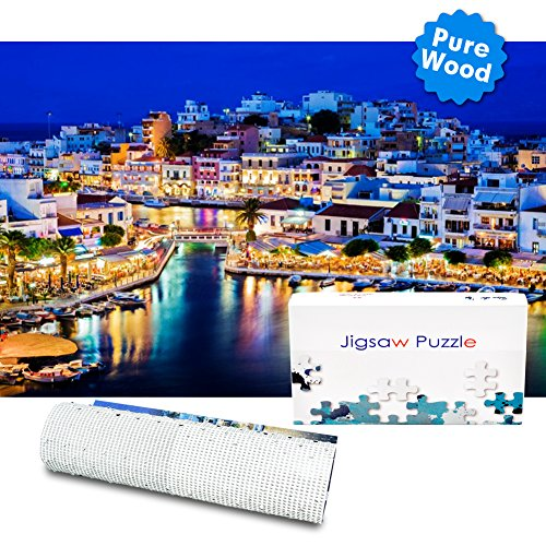 Bable Jigsaw Puzzle 1000 Pieces, Crete Night Sight Jigsaw Puzzles, Puzzles for Adults