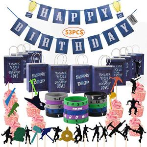 53 PCS Gaming Theme Party Supplies-Including Happy Birthday Banner×2,Gaming Themed Bracelets×15,Party Drop Box ×12 and Cake Topper×24,Gaming Party Birthday Party Supplies Decorations 61XP8uR7nbL