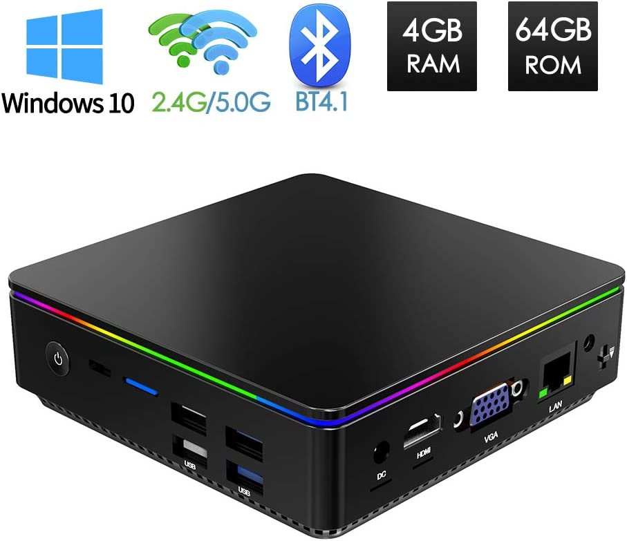 Mini PC Windows 10, Ordinateur de Bureau Intel Z8350 Processeur 4 Go DDR/ 64 Go EMMC, Mini Ordinateur 4K/ VGA HDMI Output/ Ethernet 1000Mbps LAN/ WiFi Dual Band/ Bluetooth 4.1/ USB 3.0