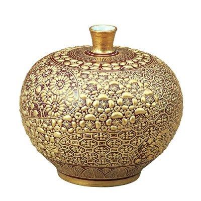 Kutani Yaki(ware) Vase Gold-Mori Waridori Komon