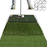 """Rukket Tri-Turf Golf Hitting Mat Attack   Portable Driving, Chipping, Training Aids for Backyard with Adjustable Tees and 9 Foam Practice Balls (Standard (25"""" x 16""""))"""
