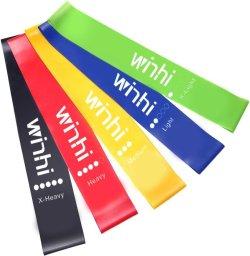 Winhi エクササイズバンド トレーニング チューブ 強度別5本セット