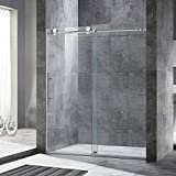 """WOODBRIDGE Frameless Sliding Shower Door, 56""""-60"""" Width, 76"""" Height, 3/8"""" (10 mm) Clear Tempered Glass, Brushed Nickel Finish, Designed for Smooth Door Closing and Opening. MBSDC6076-B"""