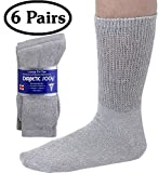 Diabetic Socks Mens Cotton 6-Pack Crew Grey By DEBRA WEITZNER