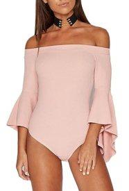 MLG Womens Off Shoulder Bell Sleeves Bodysuit Romper Leotard Tops Pink XS