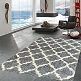 """Ottomanson Ultimate Shaggy Collection Moroccan Trellis Design Shag Rug Contemporary Bedroom and  Living room Soft Shag Rugs, Grey, 6'7"""" L x 9'3"""" W"""
