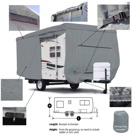 Seamander RV Cover Travel Trailer Extra Thick Triple-ply Top Panel