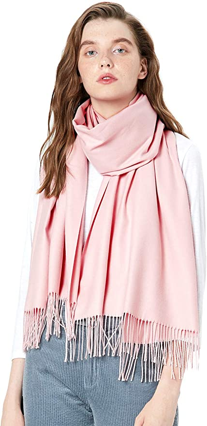MaaMgic Womens Large Soft Cashmere Feel Pashmina Shawls Wraps Light Scarf, Rubber Pink