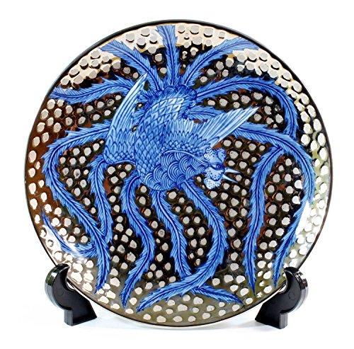 Traditional crafts | Somenishiki Platinum Aya phoenix picture | Arita , Imari - luxury pottery ornament dish | potter Fujii NishikiAya