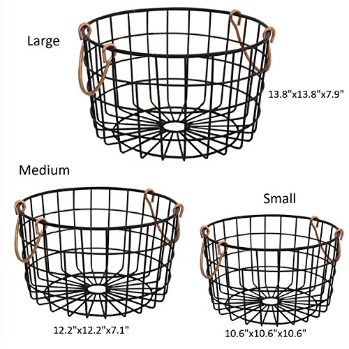 Shabby Chic French Country Round Wire Nesting Baskets Black With ...