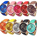 CdyBox Women Men Lady Teen Girl PU Leather Band Watches Roman Numerals Dial Analog Quartz Wristwatches (10 Pack)