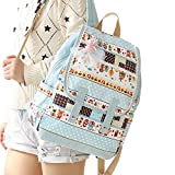Canvas Backpack for Women & Girls Bohemia Casual Book Bag Sports Daypack (Blue)