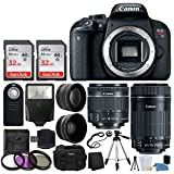 Canon EOS Rebel T7i Digital SLR Camera + EF-S 18-55mm is STM Lens + EF-S 55-250mm is STM Lens + Wide Angle Lens & 2X Telephoto Lens + 64GB Memory Card + Quality Tripod - Complete Accessory Bundle