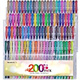 Reaeon 200 Gel Pens Coloring Set 100 Gel Pen plus Refills for Adults Coloring Books Drawing Painting Writing