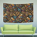 WIHVE Tapestry African Craft Voodoo Tribal Mask Tapestry Wall Hanging Home Decor for Living Room Bedroom Dorm Room 60 x 51 Inches