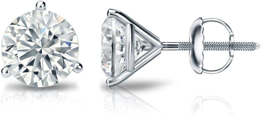 Diamond Wish Platinum Round Diamond Stud Earrings (1/4 to 2ct TW, G-H, VS1-VS2) 3-Prong Martini, Screw-Back