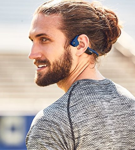 fc6eef78ab1 AfterShokz Trekz Air Open Ear Wireless Bone Conduction Headphones, Midnight  Blue, AS650MB