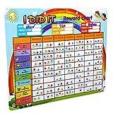 ATDAWN Magnetic Behavior Chalkboard Rewards Chore Chart, Refrigerator Reward Set, Schedule Calendar Wall Set with 42 Magnetic Chore List and 150 Reward Stars