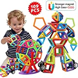 HOMOFY 109 PCS Magnetic Blocks for Kids Toddlers Magnetic Tiles Building Blocks 3D Rainbow Educational Construction Toys for 3+ Years Old Boys Girls (109 Magnetic Blocks)