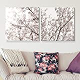 wall26-2 Panel Square Canvas Wall Art - Cherry Blossom in Spring - Giclee Print Gallery Wrap Modern Home Decor Ready to Hang - 24'x24' x 2 Panels