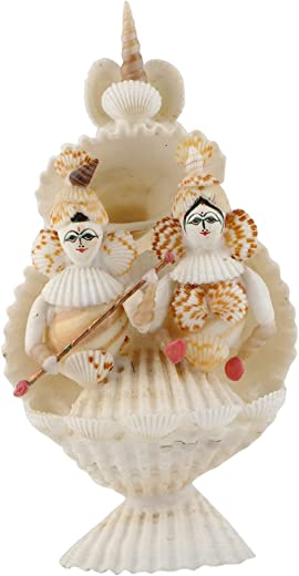 RADHAGOBINDA HANDICRAFT Sea Shell Handcrafted Radha Krishna (10 cm x 8 cm x 16 cm, White)