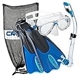 Cressi Palau Mask Fin Snorkel Set with Snorkeling Gear Bag, Blue, S/M   (Men's 4-7) (Women's 5-8)