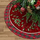 Valery Madelyn 48 inch Traditional Holly Leaves Christmas Tree Skirt with Tartan Trim,Themed with Christmas Ornaments (Not Included)