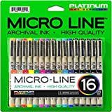 Platinum Art Supplies Micro-Line Ultra-Fine Point Ink Pens (Set Of 16)