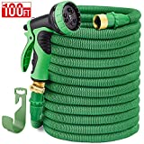 Delxo 100FT Expandable Garden Hose Water Hose with 9-Function High-Pressure Spray Nozzle,Black Heavy Duty Flexible Hose, 3/4' Solid Brass Fittings Leakproof Design (Black Hose) (Green)